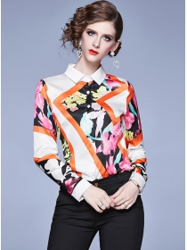 Fashion Spring Color Block Flowers Long Sleeve Blouse