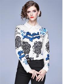Fashion Europe Letters Printings Slim Long Sleeve Blouse