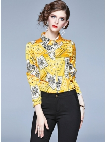 Fashion Spring Flowers Shirt Collar Long Sleeve Blouse
