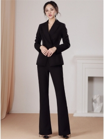 Vogue Lady Tailored Collar High Waist Slim Business Suits