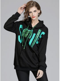 Winter New 2 Colors Beads Letters Loosen Thick Hoodies