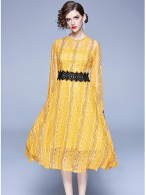 Grace Charming High Waist Lace Flowers Long Dress