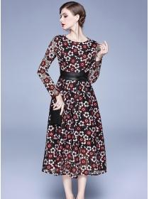 Lovely Wholesale Belt Waist Lace Flowers Maxi Dress
