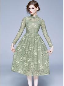 Retro Charming High Waist Lace Flowers A-line Dress
