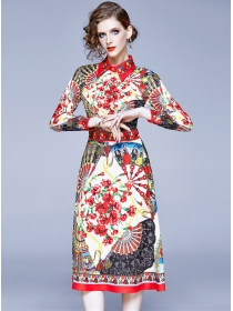 Pretty Wholesale Shirt Collar Flowers Long Sleeve Dress
