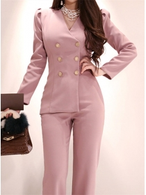 Quality Wholesale Double-breasted V-neck Slom Long Jumpsuit