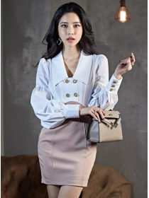Retro Wholesale Double-breasted Doll Collar Puff Sleeve Dress