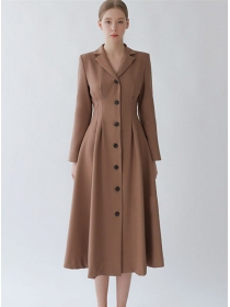 Handsome Lady Single-breasted Tailored Collar Coat Dress