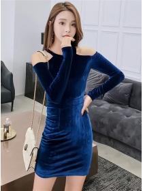 Wholesale Cheap 2 Colors Off Shoulder Slim Velvet Dress