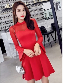 Wholesale Korea 2 Colors Gauze Shoulder Flare Sleeve Dress