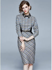 Quality Fashion Beads Collar Plaids Bodycon Long Sleeve Dress