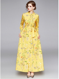 Charming Europe Tie Waist Flowers Shirt Collar Maxi Dress
