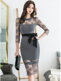 Grace Fashion Lace Round Neck Tie Waist Bodycon Dress