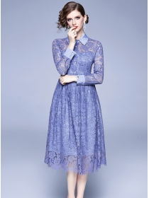 Europe Spring Fashion Shirt Collar Lace Flowers Dress