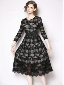 Europe Wholesale Round Neck High Waist Lace A-line Dress