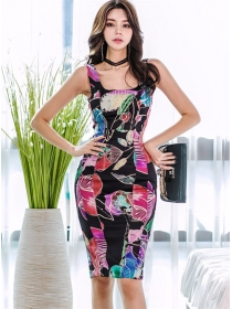 Summer New 2 Colors Square Collar Flowers Tank Dress