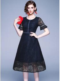 Europe Stylish Round Neck Flare Sleeve Lace A-line Dress