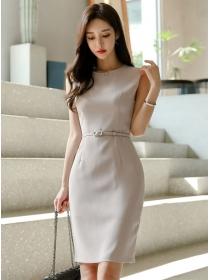 Korea Simple Fashion Round Neck Bodycon Tank Dress