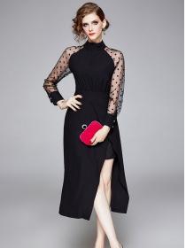 Fashion Lady High Waist Dots Gauze Sleeve Split Long Dress