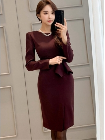 Grace OL Round Neck Flouncing Waist Bodycon Dress