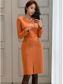 Spring New Arrive Round Neck Bodycon Long Sleeve Dress