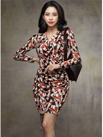 Modern Lady V-neck Color Block Slim Long Sleeve Dress