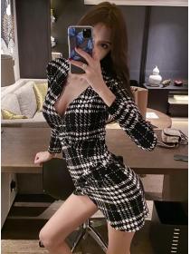 Wholesale Sexy V-neck Houndstooth Skinny Dress