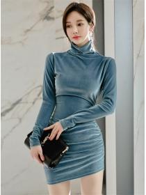 Korea Spring Stand Collar Velvet Bodycon Dress