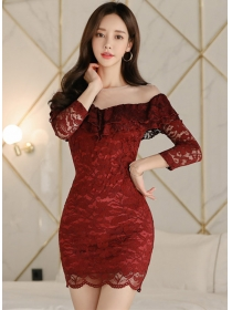 Sexy Fashion Flouncing Boat Neck Skinny Lace Dress