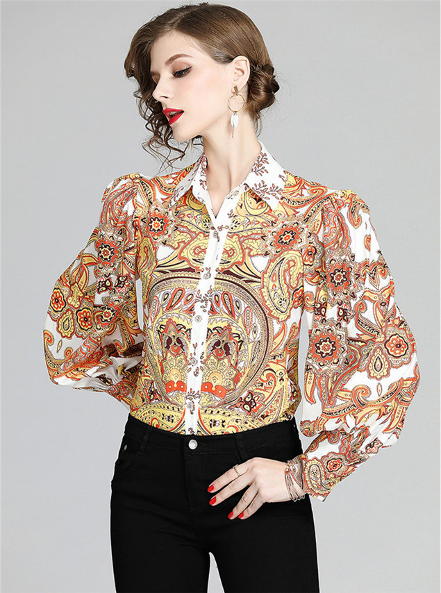 Wholesale Spring Buttons Open Flowers Puff Sleeve Blouse