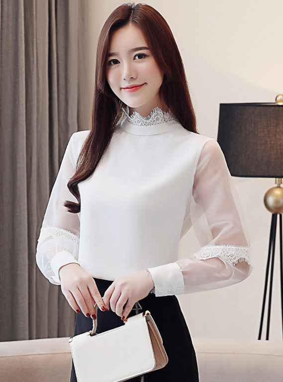 Wholesale Charm 3 Colors Stand Collar Gauze Sleeve Blouse
