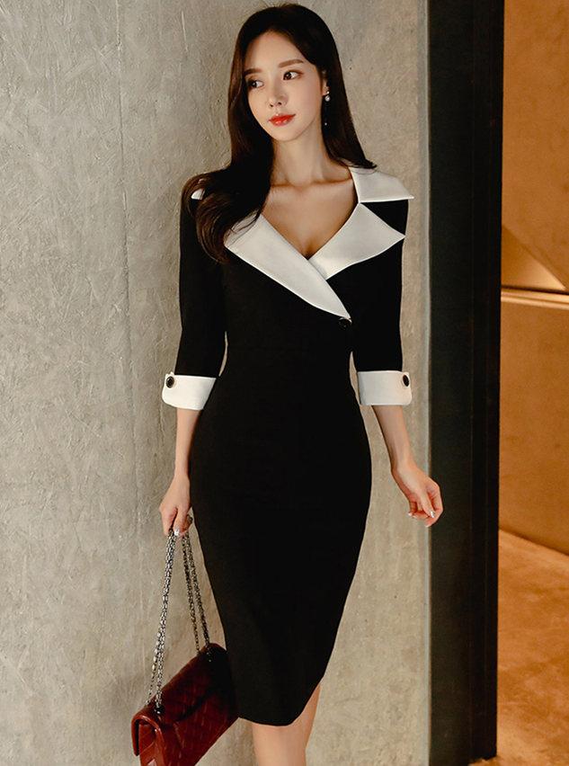 Spring OL Color Block Tailored Collar Bodycon Dress