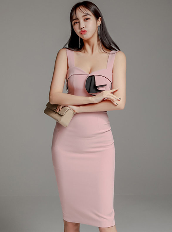 Lovely Wholesale Flouncing Square Collar Straps Skinny Dress
