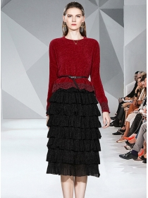 Fashion Spring 2 Colors Knitting Tops with Layered Flouncing Skirt