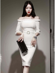 Sexy Lady Fur Boat Neck Fitted Waist Long Sleeve Dress