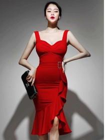 Wholesale Korea Flouncing Fishtail Skinny Straps Dress