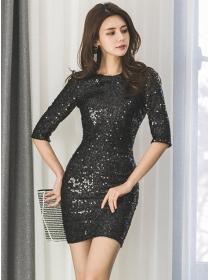 Wholesale Korea Backless Round Neck Sequins Slim Dress