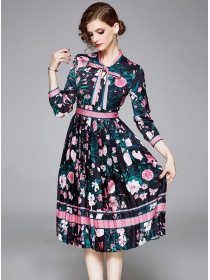 Pretty Fashion Tie Collar Flowers Pleated A-line Dress