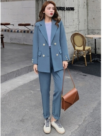Casual Fashion Tailored Collar Double-breasted Long Suits