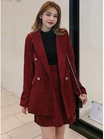 Korea Spring New Tailored Collar Corduroy Dress Set