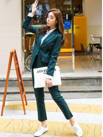 Korea Wholesale 2 Colors Tailored Collar Casual Long Suits