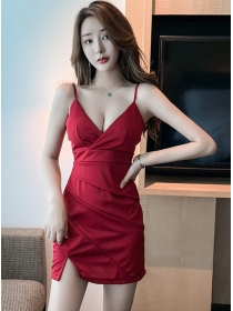 Sexy Lady 2 Colors V-neck Pleated Straps Dress