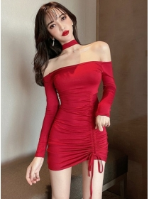 Sexy Lady 3 Colors Boat Neck Draw-string Pleated Dress