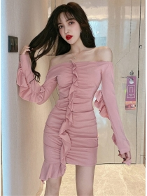 Sexy Lady 2 Colors Boat Neck Flouncing Slim Dress