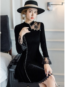 Spring New Beads Lace Splicing Velvet A-line Dress