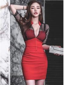 Sexy Lady Stripes Gauze Low V-neck Skinny Dress