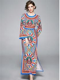 Spring Retro Fashion Color Block Plaids Maxi Dress