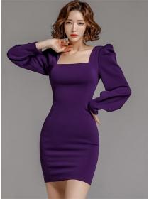 Modern Lady Square Collar Puff Sleeve Slim Dress