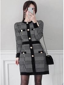 Korea Wholesale Single-breasted Houndstooth Knitting Dress