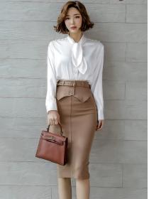 Elegant OL Tie Collar Blouse with Slim Midi Skirt